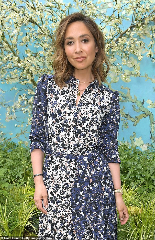 Radiant:Myleene Klass also made an appearance and the doting mother, 43, wowed in a shin-skimming floral dress and open-toe heels