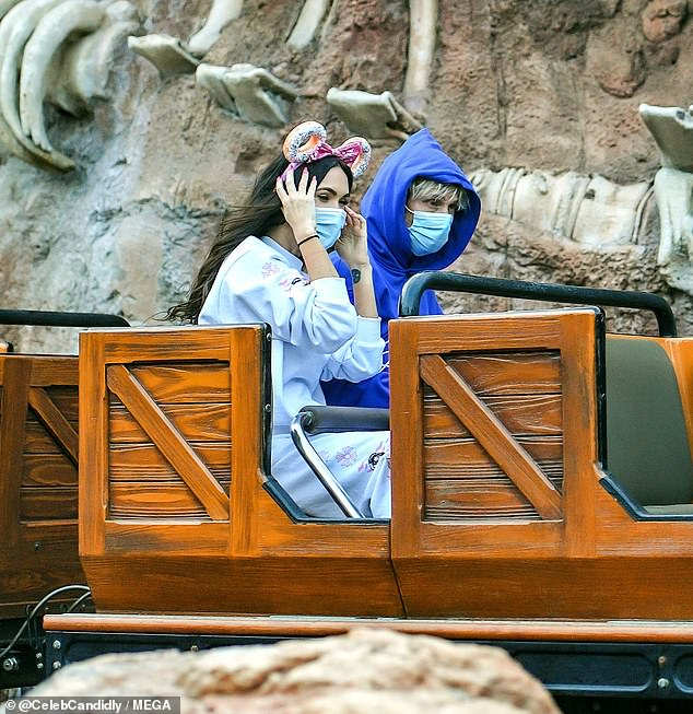She choo choo chose him:The two certainly seemed to enjoy their day at Disney theme park as they rode several rides together including the Big Thunder Mountain Railroad rollercoaster (pictured) and he Millennium Falcon and Rise Of The Resistance in Star Wars Land