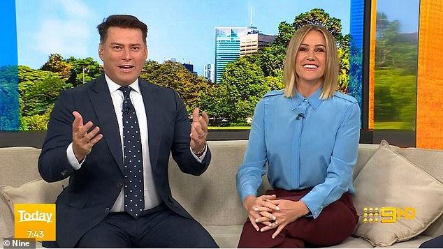Bash: Kyle, 49, told Stellar magazine he's throwing a lavish yacht party over the weekend with guests including Today anchor Karl Stefanovic (left, with Allison Langdon)