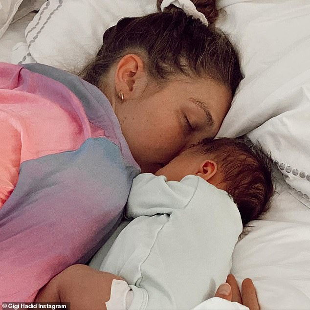 Baby girl:Gigi and Zayn has been adjusting to life as parents since welcoming their first child, daughter Khai, in September 2020; Gigi and Khai pictured in May