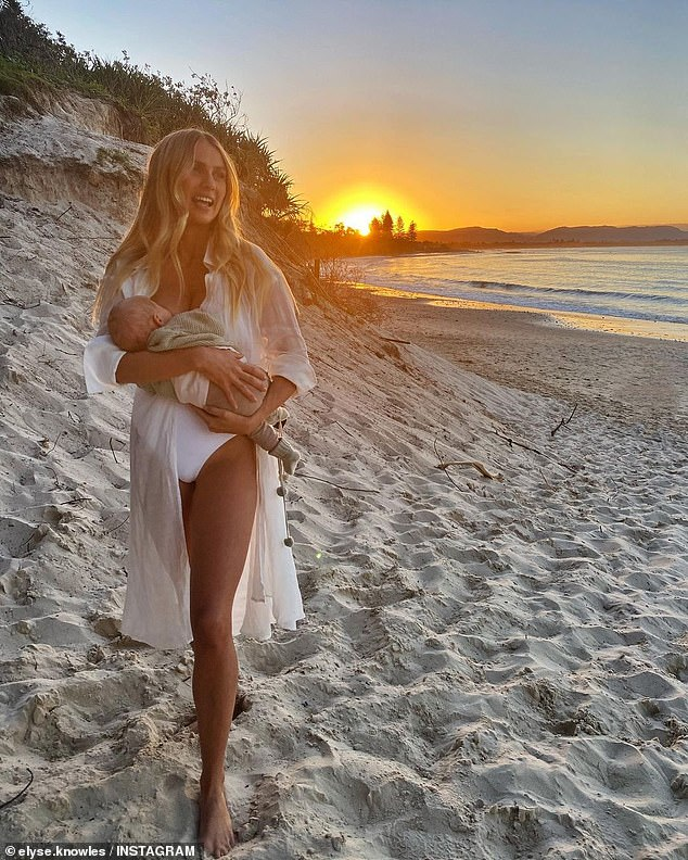 Motherhood: Elyse and her fiancé, Josh Barker, with whom she won Channel Nine's The Block in 2017, welcomed their son, Sunny, on February 25