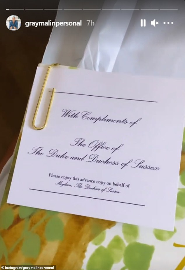 As well as the inscription, the Duchess had also clipped a note to the front of the book, which said it was 'with compliments of The Office of The Duke and Duchess of Sussex'
