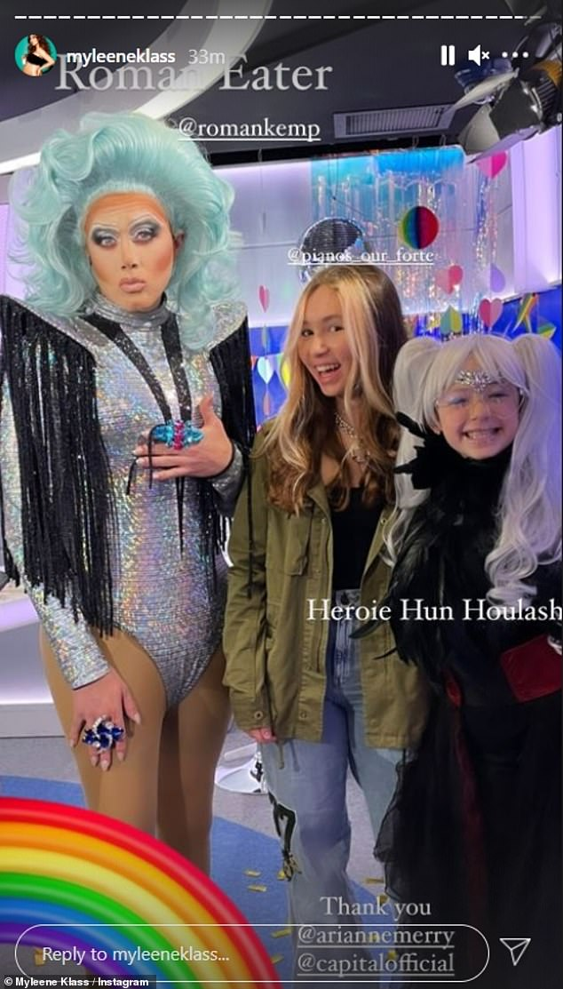 In drag: Roman Kemp also got into drag for the occasion, donning a blue wig and a black and silver bodysuit to transform into his alter-ego Roman Eater