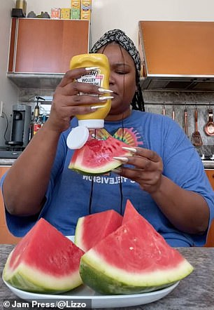 Unconvinced: The Juice hitmaker was left baffled as she chowed down on her mustard covered melon