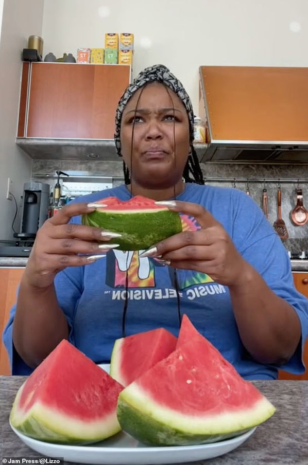 Watermelon sugar why: Lizzo, 33, tried out the bizarre TikTok trend which sees people eat watermelon with yellow mustard on top