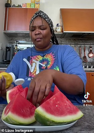 Hilarious: Lizzo's face said it all as she worked her way through the watermelon