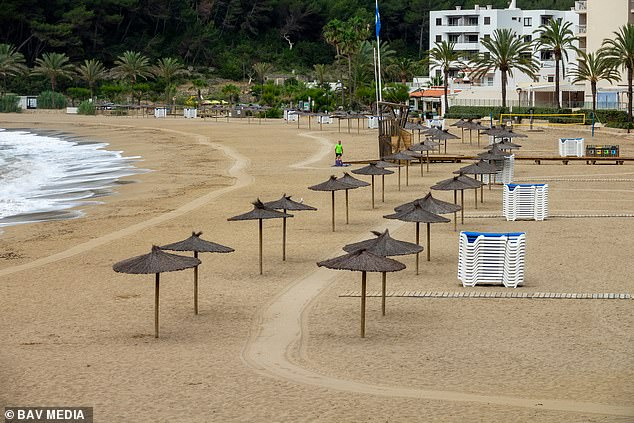 Ghost town Ibiza: Meanwhile normally-packed beaches on the Spanish holiday island of Ibiza are deserted today as Covid restrictions ground tourists across Europe