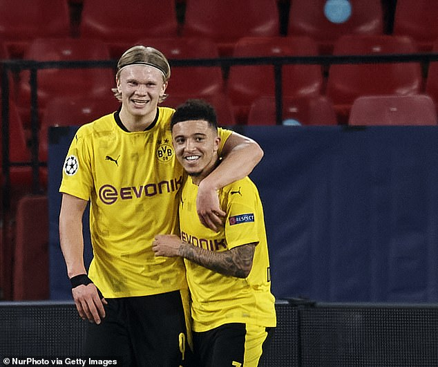 Borussia Dortmund could pursue Zaha if Jadon Sancho (right) leaves for Manchester United