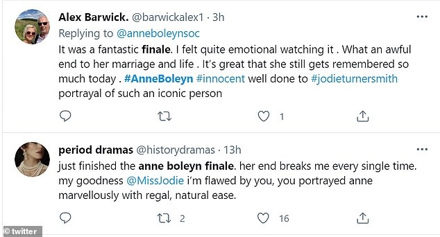 High praise:Other viewers penned: 'It was a fantastic finale. I felt quite emotional watching it . What an awful end to her marriage and life'