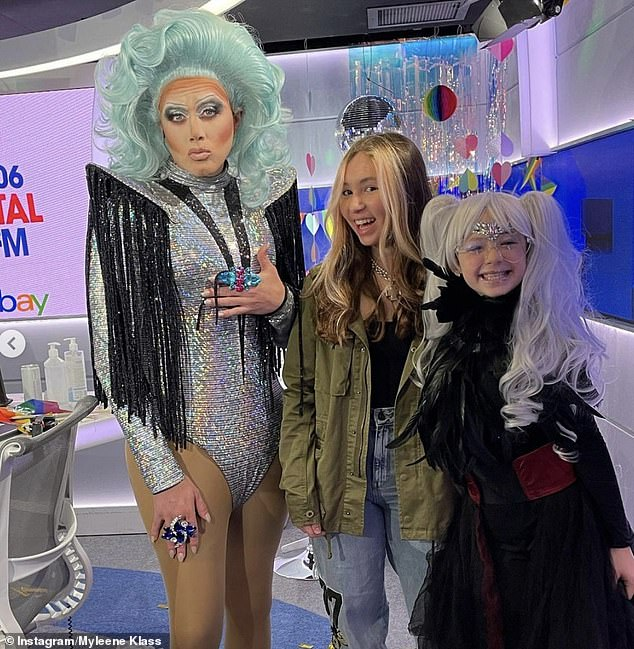 Fun: Myleene's daughters had stopped by to see Roman Kemp host a special Pride show for Capital FM breakfast