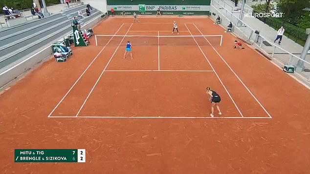 Sizikova (bottom right) served two double faults as she lost her service game at French Open