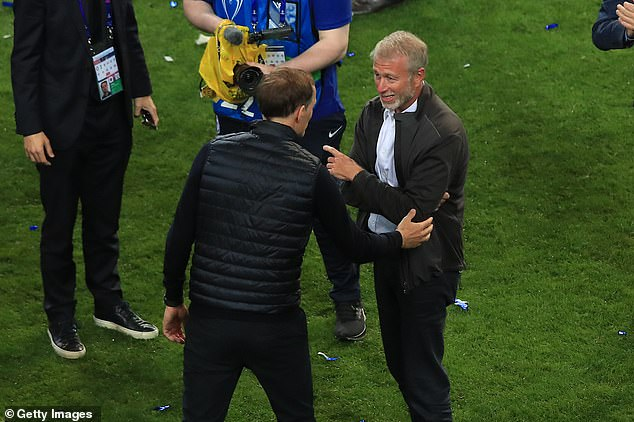 Tuchel has the chance to be the longest serving manager under Roman Abramovich (right)