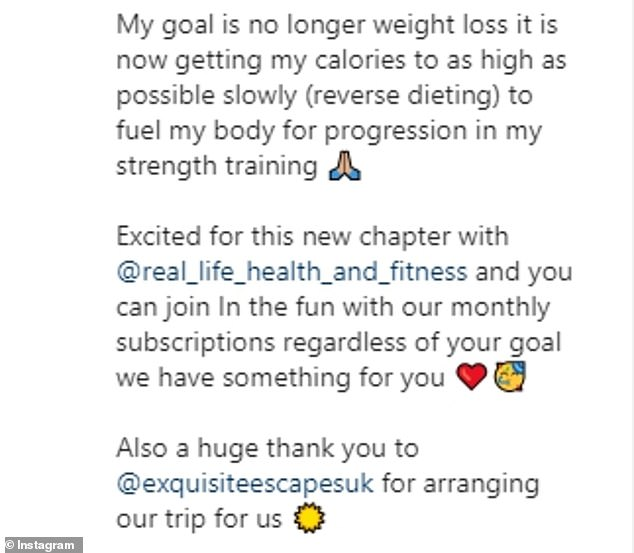 On the mend: Shewent on to say how 'trying to undo a lifetime of bad habits and diet culture doesn't happen overnight', but in 18 months she feels she's getting 'very close'