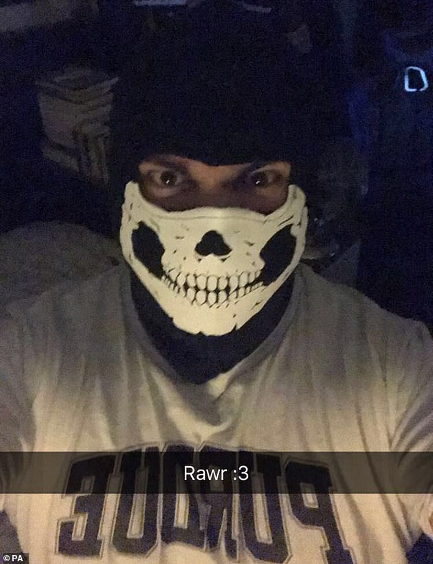 Pictured: Image released by Counter Terrorism Policing North East of a person wearing a skull mask which was sent via an electronic device used by Dymock