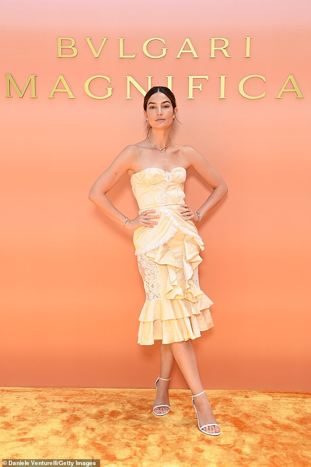 Ruffle:She later attended the Bvlgari Press Lunch where she wore another sensational dress, again strapless and perfectly shaped