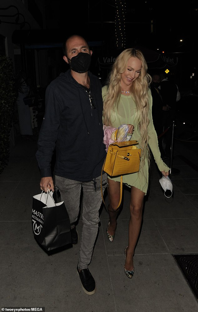Romantic:The 31-year-old Selling Sunset star enjoyed dinner with her tech entrepreneur husband Christian Richard at upscale steakhouse Mastro's in Beverly Hills