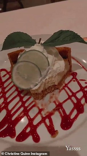 Room for dessert: Quinn and Richard ordered a delicious-looking key lime pie to finish off their dinner