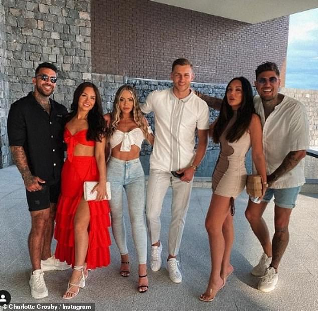Holiday: Charlotte flew to Portugal with her Geordie Shore co-star Holly Hagan (centre), who was set to tie the knot with her fiancé Jacob Blyth