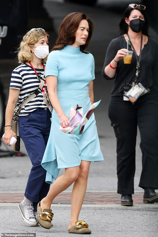 Scandal:Actress Lena Heady, 47, appeared to step back in time to the early 1970s as she was pictured for the first time on set for the upcoming HBO miniseries about the Watergate scandal, The White House Plumbers