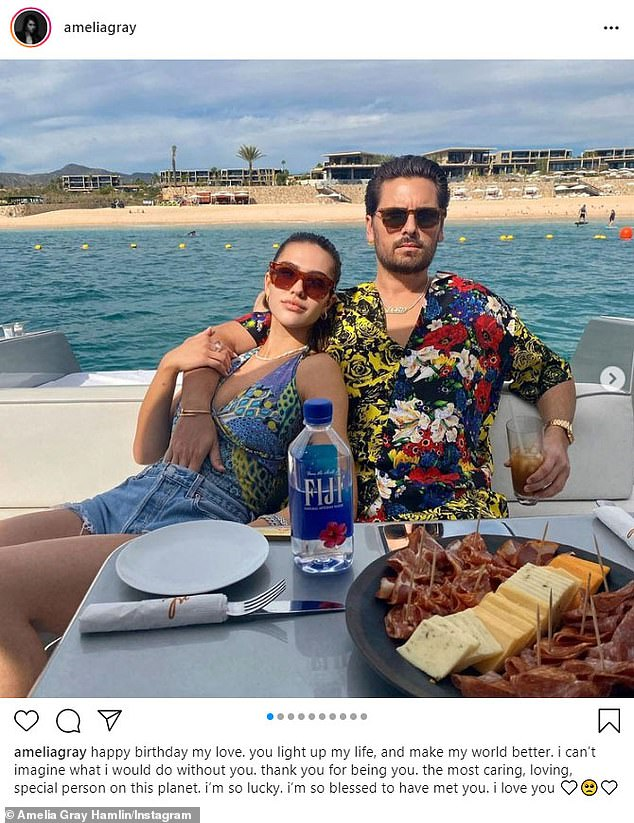 'I'm so lucky':Her latest outing comes after she gushed over her boyfriend Scott Disick on Instagram for his 38th birthday last week