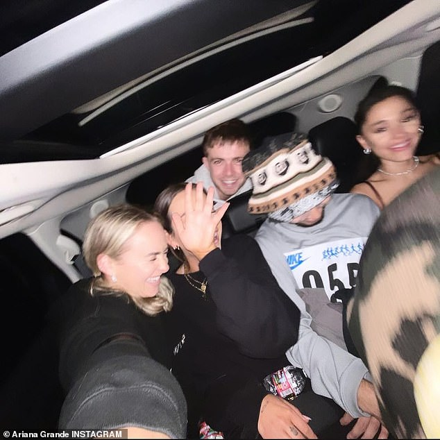 Memories:The next image was from the car with Ariana seated with her head down, alongside several pals as they all laughed