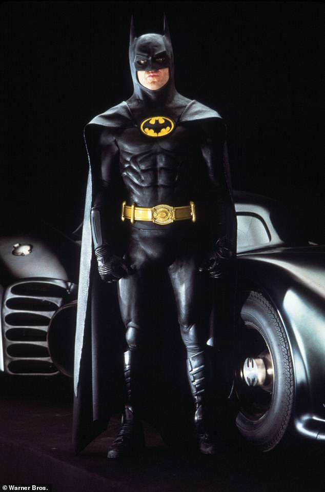 Doing it again: Keaton portrayed Bruce Wayne for a second time in 1992's Batman Returns before leaving the role; he is pictured in 1989