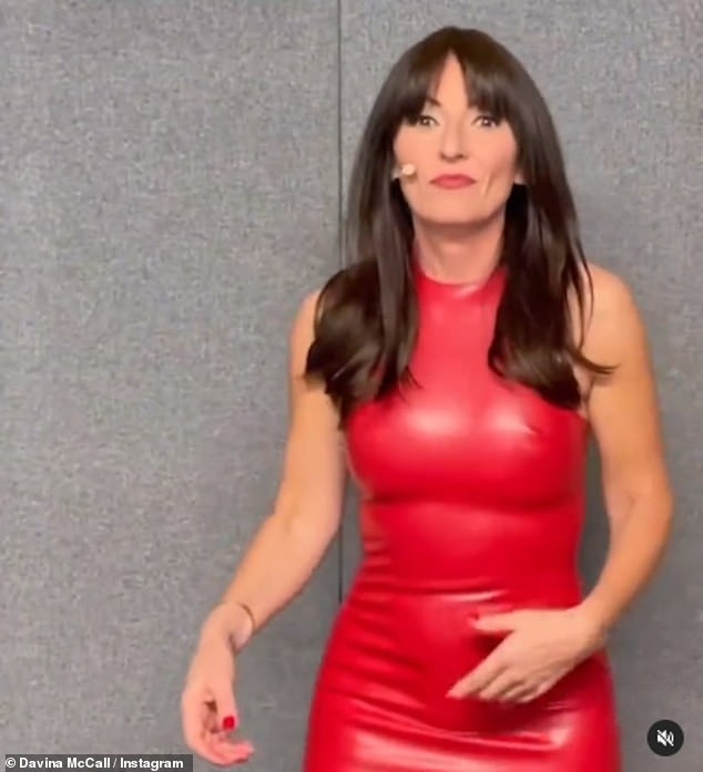 Racy!While on The Masked Dancer this week, Davina has wowed in a number of racy ensembles, including a latex mini dress (pictured) and a red plunging ensemble
