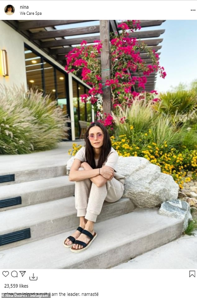 Tranquil:A few days earlier, the actress had posted a photo of herself lounging on the steps outside of the We Care Spa in Desert Hot Springs, California