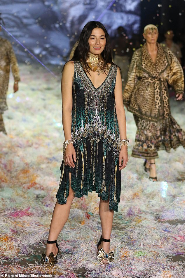 Model moment: Jessica Gomes walked the runway at Afterpay Australian Fashion Week 2021 on Friday. The model, 35, was part of the Future of Fashion presentation, wearing an outfit from Camilla, the label owned by Australian designer Camilla Franks