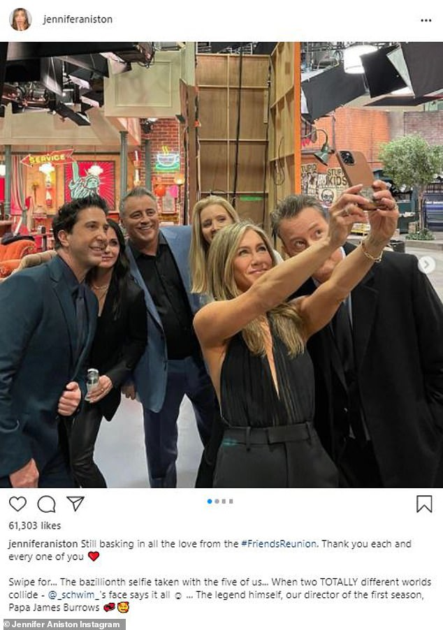 Earlier this week: Aniston posted more behind-the-scenes photos from the Friends reunion to her social media