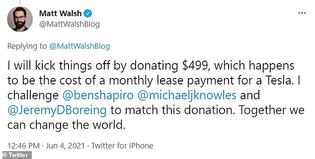 Walsh said he would 'kick things off by donating $499, which happens to be the cost of a monthly lease payment for a Tesla'