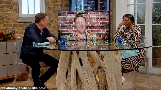 Caught out! The Masked Dancer judge Oti Mabuse (right), 30, was left red-faced as she chef Matt Tebbutt revealed she had been 'knocking back alcohol' on BBC's Saturday Kitchen Live