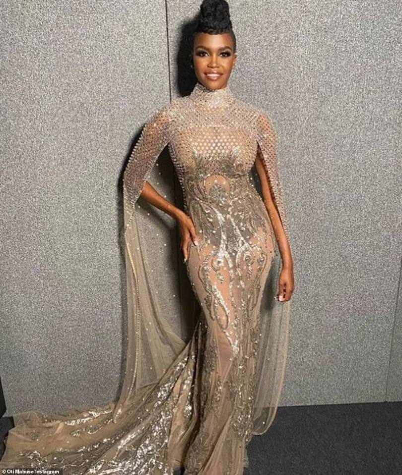 Wow:Oti Mabuse, 30, and Davina McCall, 53, made sure to turn heads for The Masked Dancer final on Saturday with Oti wearing a show-stopping gold gown with cape detailing