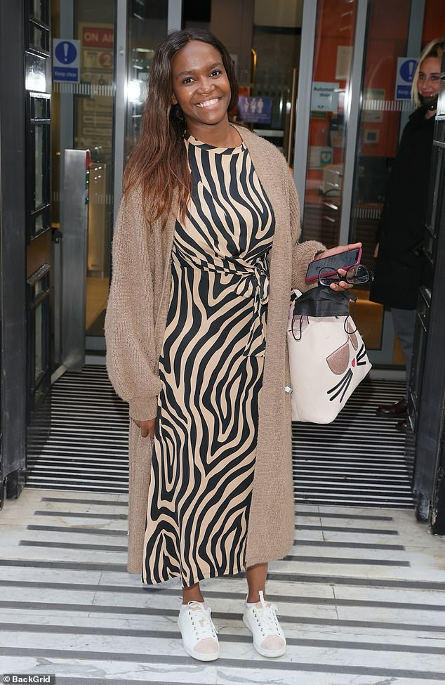Stepping out:Hours earlier a makeup-free Oti was seen leaving London's BBC studios looking radiant following her appearance on Saturday Kitchen