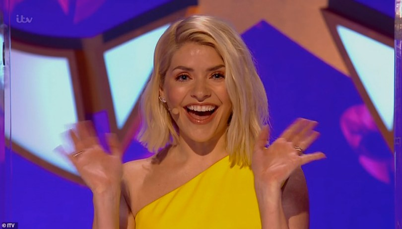 Star:Holly looked incredible in an off-the-shoulder yellow gown and looked radiant with her hair in a stylish cropped do