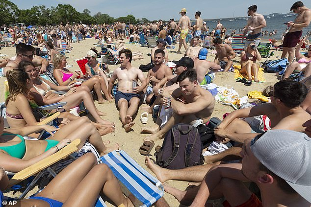 Boston, Massachusetts: Crowds gathered at L Street Beach on Saturday as more people in New England get vaccinated against the coronavirus