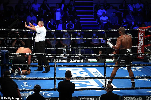 Dinu was unable to beat the referee's count following the blow early into the second round