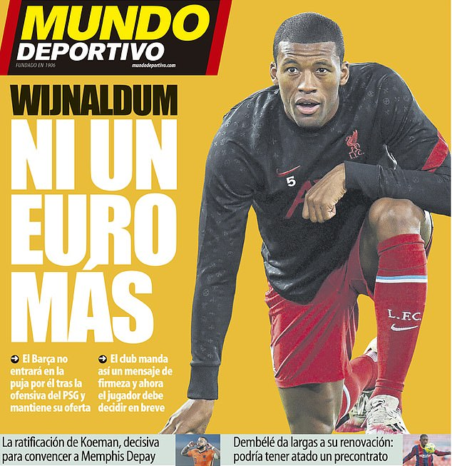 Spanish paper Mundo Deportivo claimed the club would pay 'not a Euro more' to sign him