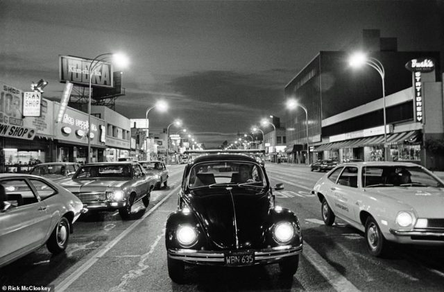Here, a classic Volkswagen Beetle, center, on Van Nuys Boulevard. McCloskey said he took this image while the cars were at a stoplight. He ran across the road, stopped and snapped. 'I was in the crosswalk. I would have been dead otherwise,' he joked and then laughed. He noted the Pintos to both the right and left of the Beetle. 'What I liked about that picture was it was just this sweep of down the boulevard and the lights.' He noted that it was downtown Van Nuys, which was founded in 1911 and named after Isaac Van Nuys, who settled in the area in the 1870s and was a prominent landowner.