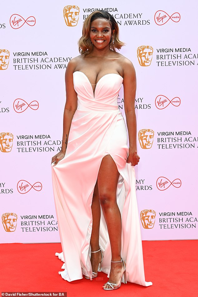Grecian Goddess:Oti Mabuse, 30, didn't disappoint with her look for the 2021 British Academy Television Awards on Sunday as she attended the ceremony in a revealing white gown