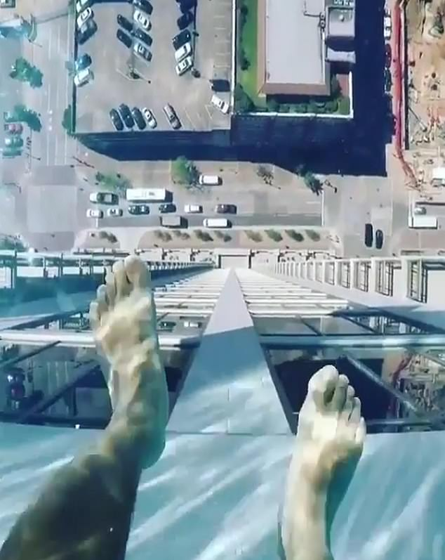 The developer claims it is the highest glass-bottomed pool in the world at 500 ft (152 metres) and it's been making waves on Instagram