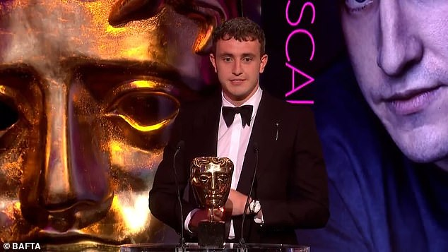 Speech:Taking to the stage in a smart black suit, Paul said: 'I fully was not expecting to be here so I have no clue what I'm going to say. I want to thank everyone at Hulu and the BBC'