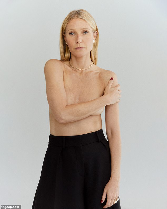 Going for the gold! Gwyneth Paltrow posed completely topless as she unveiled her new line of jewelry, the G Label