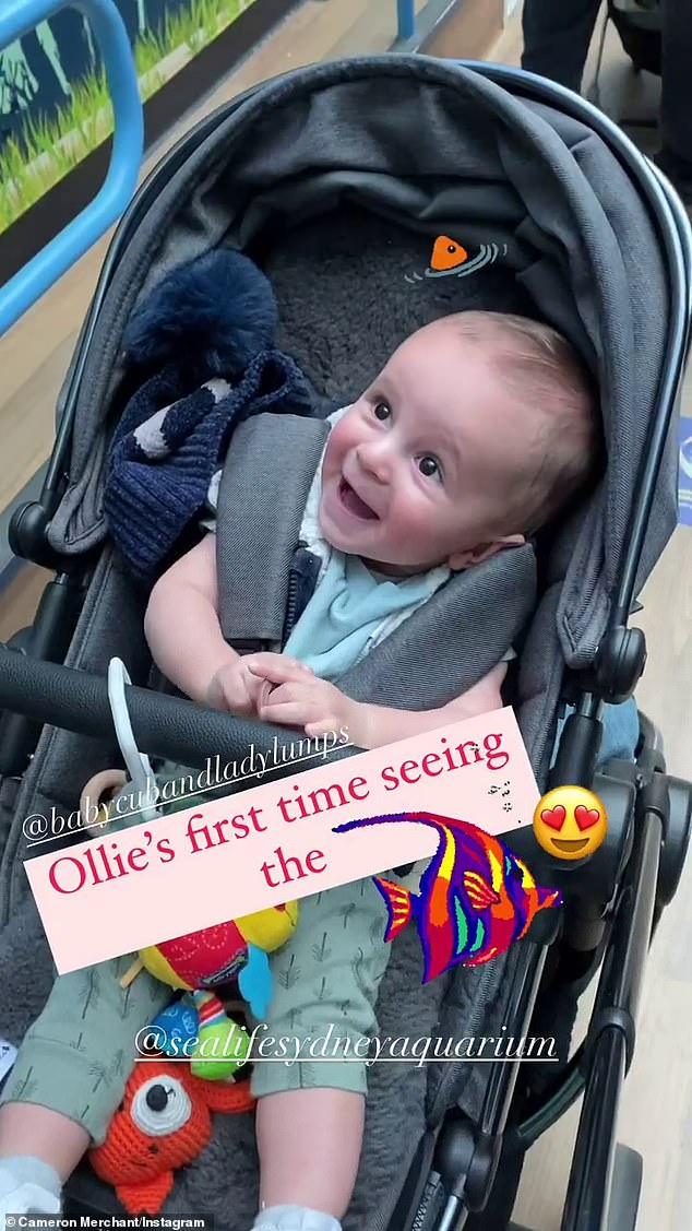 So cute!Ollie smiled and giggled in his pram as fish, stingrays and even a shark swam above him in the large tank