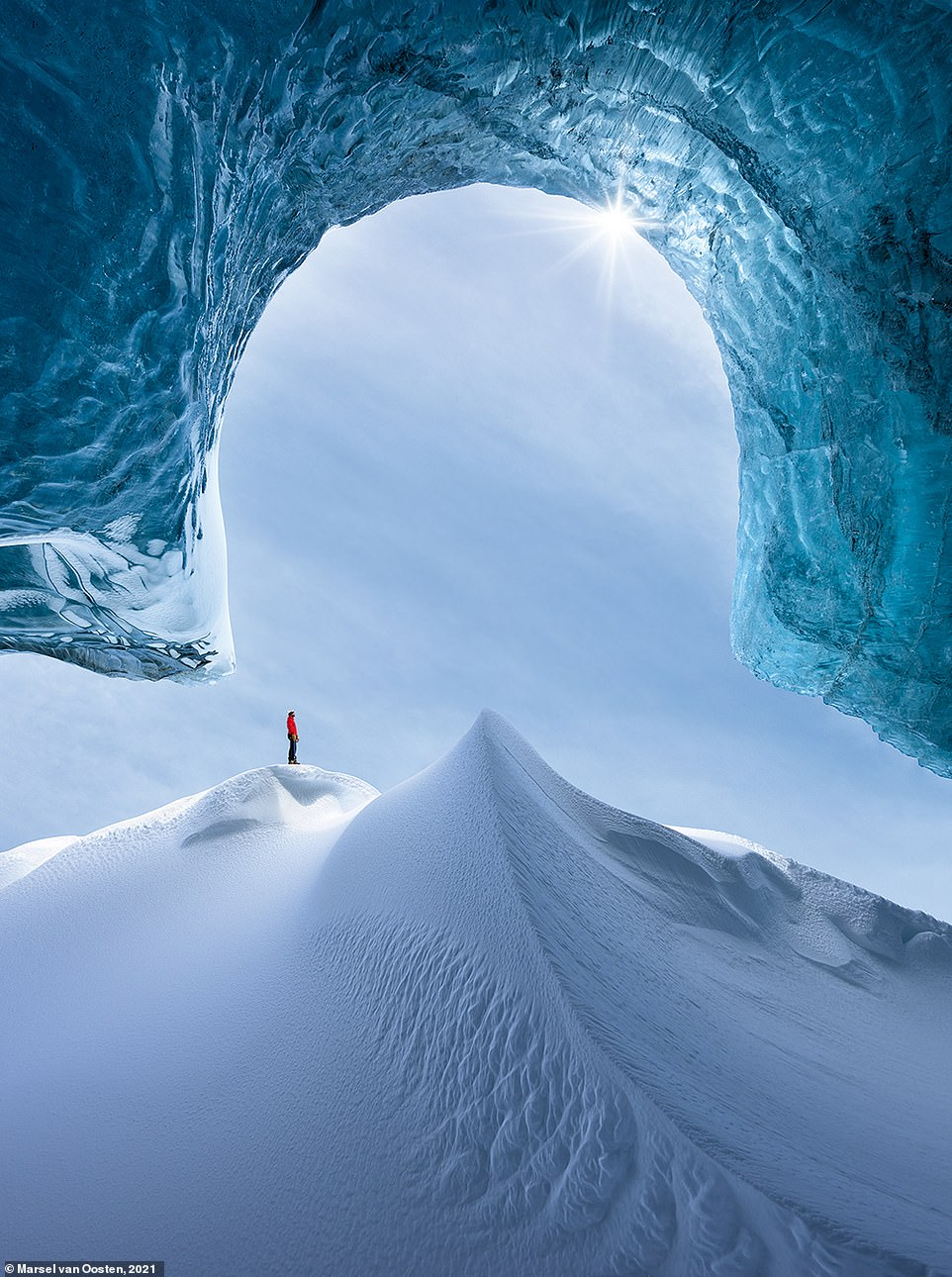 Taken in Iceland, this amazing shot is called 'Portal to Winter'. Marsel explains: 'Glacial caves are among the most inspiring places to photograph. Each year they're different, but always fascinating and mind-blowingly beautiful - it's hard to beat nature's architecture. As so often in my landscape photography, I decided to include a human element. Without it, it would be impossible to appreciate the scale here'