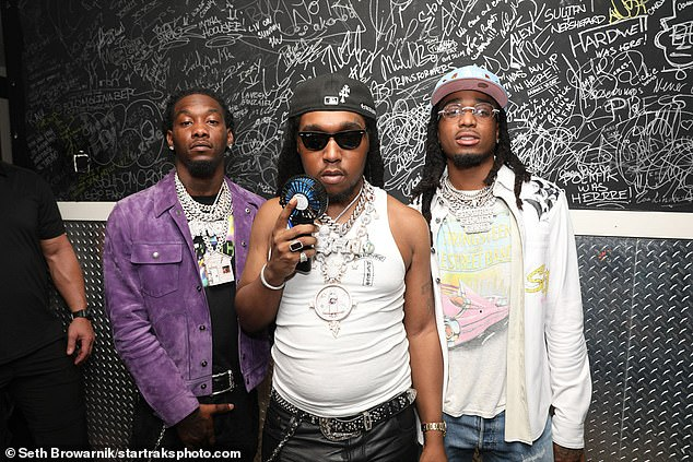 We;re here! Hip hop trio Migos were also seen arriving for the party at the Miami hotspot
