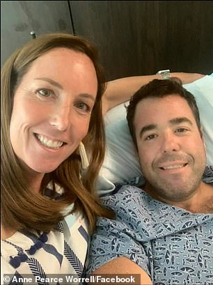 Andrew Worrell was shot in leg and hip while on 3-mile run in Buckhead, Atlanta, Saturday morning. He is pictured with wife Anne