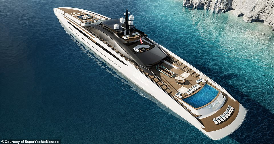 A concept design for a new superyacht called Sunrise, pictured, has been unveiled by luxury boat brokerage firm SuperYachtsMonaco