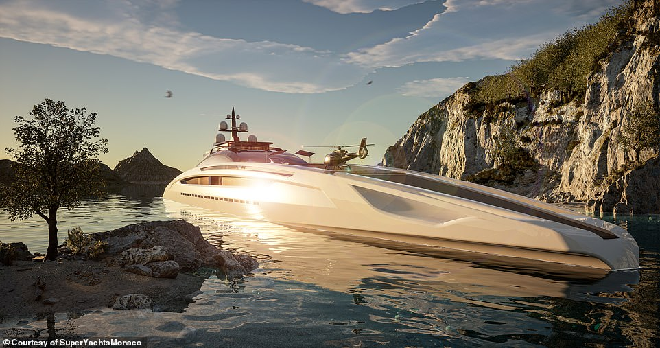 The designers called the concept Sunrise because of the way the yacht's sides dip towards the water, like 'the sun at the break of day'