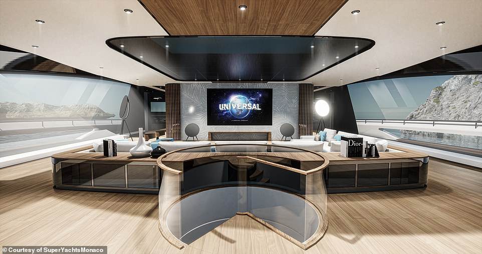 A peek inside one of the lounge areas, complete with a large cinema-style screen